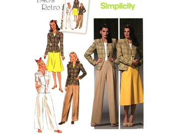 1940s Separates Pattern Uncut Simplicity 4044 Retro Reissue Pants Baggy Trousers Fitted Jacket Flared Skirt Womens Vintage Sewing Patterns