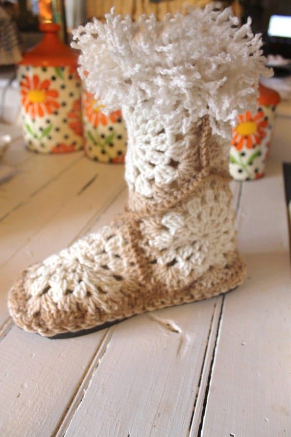 Crochet Pattern For Granny Square Slippers : Crochet Boot PatternGRANNY SQUARE SLIPPER Boots by ...