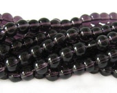Beads : 50 Violet Purple 6mm  Round Glass Beads | 11-inch Strand 6mm Dark Purple Translucent Glass Beads         54330