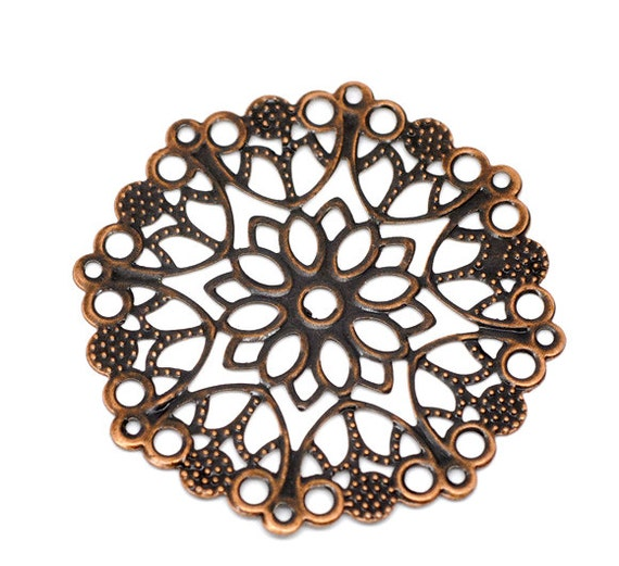 Filigree : 10 Antique Copper Filigree Flower Wraps | Copper Filigree Links | Metal Stampings  ... Lead, Nickel & Cadmium free 14747.S