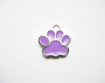 5 Purple and Silver Enamel Paw Charms - C1605