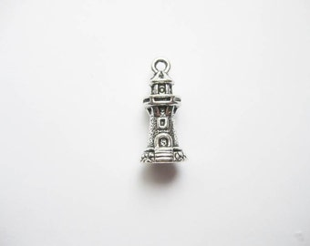 6 Lighthouse Charms in Silver Tone - C1895