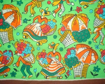 Vintage 1930s Scarf with Folk Ladies at the Flower Market Colorful Print
