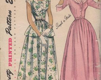Bust 30-1950's Misses' Dress Simplicity 2869 Size 12