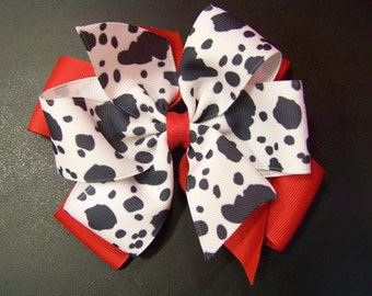 Cowgirl Hair Bow or Headband / Cow Print & Red / Cowgirl / Western / Rodeo / Girl / Baby / Infant / Toddler / Custom Boutique Clothing