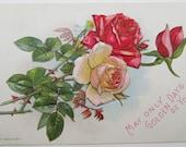 Vintage Pink and Red Roses Embossed Postcard Unused