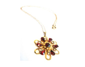 Brass Red Clear Rhinestone Flower Necklace 1950s