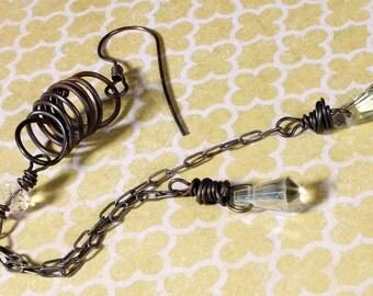 Crystal Teardrop Earring. Tribal Glam. oxidized dangle earrings. long chain earring. Black Lodge Jewerly