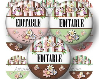 Owls and Daisies, Editable. Bottle Cap Images, Digital Collage Sheet, Owl Daisy, 1 Inch Circles, Instant Download, Pendants, Cabochon (No.1)