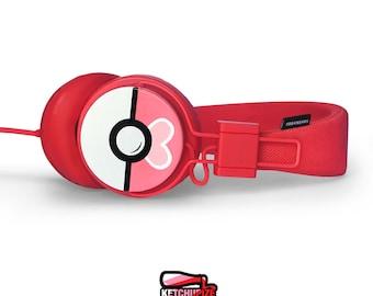 Love Ball headphones Poke-phones Urbanears earphones white red pink hand painted