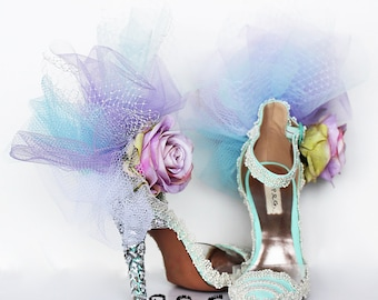 Custom shoes, bridal shoes, handmade, Marie Antoinette shoes, tulle shoes,heel pumps with straps, dorsay shoes, embellished wedding shoes