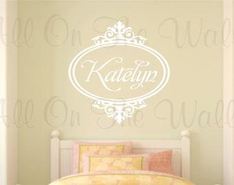 Baby Girl Monogram Wall Decal Name Vinyl Wall Sticker Shabby Chic Room Decor