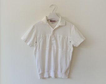 Vintage White Mens Mixed Knit Polo by Logistix Mens S