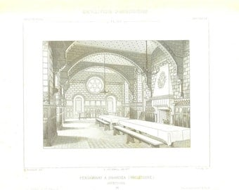 1873  Architectural Print, Black and White Engraving, School, Swansea, England