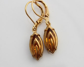 Topaz and gold estate style navette drop earrings, topaz earrings, navette earring, topaz earring, navette earrings, gold earrings TG03