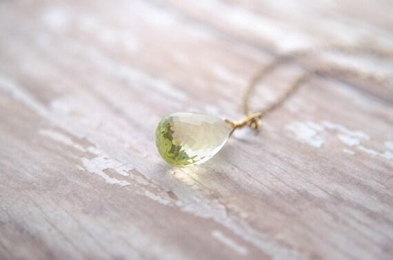 Lemon Quartz Necklace | Yellow Teardrop Necklace | Wire Wrapped Pendulum