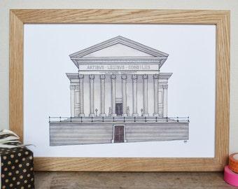 St George's Hall, Liverpool Print - Liverpool Art - architectural art - architectural drawing - Liverpool Wedding Gift