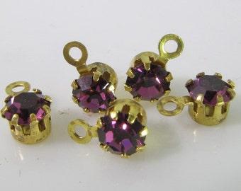 20 Vintage Swarovski Amethyst 17ss 4mm Crystal Drops Charms Cr58