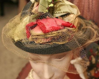 Romantic Navy Straw and Floral Arrangement 1930's Hat