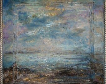 Abstract Seascape Ocean Painting, Impressionist Abstract, Sea Change , 24x24x2 Sherischart- Sheri Wilson