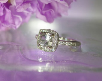 Herkimer Diamond Ring Square Halo Sterling Silver Smoky Shades