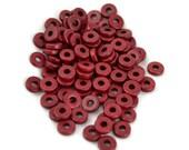 50 Mykonos 8mm Round Washer - Grenadine - Greek Ceramic Beads - Spacer Disc Dark Red