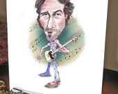 Bruce, Springsteen, Unique Greeting Card, Funny Greeting Card, Unique Birthday Card, Boss, Handmade, Caricature, Rock Star, Birthday