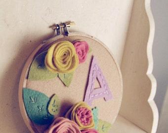 Felt Monogram Nursery Decor, Personalized Embroidery Hoop Art, Pastel Nursery Decoration, Girl Decor, Tween, Baby, Playroom, Choose Letter