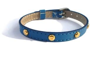 Royal Blue And Gold Studded Leather Bracelet, Adjustable Bracelet, Studded Leather Bracelet , Gold Studded Wristband -  Friendship bracelet