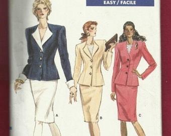 Vintage 1988 Vogue 7135  Princess Seam Strong Shoulder Jacket & Pencil Skirt Size 6-8-10 UNCUT