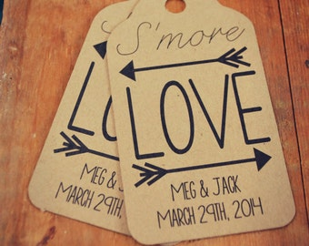 S'more Love Wedding Favour SMALL Tag Set Camping S'more Theme Wedding Birthday Bridal Shower Engagement Shower Party Smores Smore Love