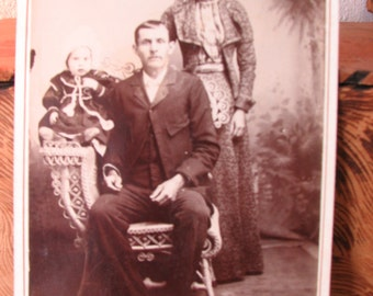 Cabinet Card Photo of Man, Woman, and Child