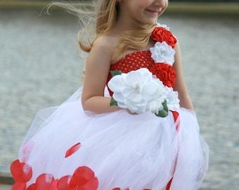 Red flower girl dress, Flower girl dresses, tulle flower girl dress, rustic flower girl dress, Valentine's Flower Girl dress, Wedding