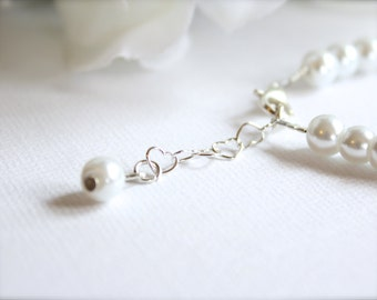 Sterling Silver Heart Grow Chain Add On for Jewelry, Bracelet, Necklace, Extender Chain, .5 or 1 inch, 4mm Rolo Heart