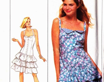 Simplicity 8547 Strappy dress semi fitted buttoned bodice dropped waist tiered short skirt Size 10-12-14 uncut