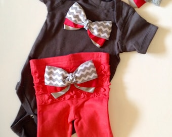 Newborn baby girl Take Home Outfit Chevron Grey Coral Newborn Baby Girl Coming Home Outfit Newborn Girl First Photo Newborn Girl Take Home