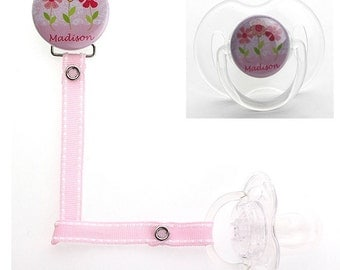 Personalized Name Flowers Girl Pacifier Clip (PER 40) (MSRP 19.00)
