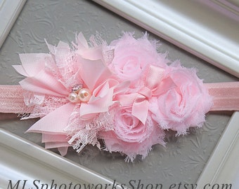 Pinkalicious Baby Girl Headband - Soft Flower Hair Bow in Light Pink for Babies, Toddlers and Girls