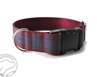 "Pride of Scotland Autumn Tartan - 1.5"" (38mm) wide - Plaid Dog Collar - Martingale or Side Release - Choice of style and size - Burgundy"