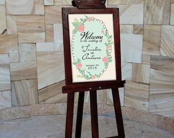 Large Custom Wedding Sign. Vintage Wedding Deco. Rustic Wedding Poster. Welcome Wedding Sign. Printable Version Available