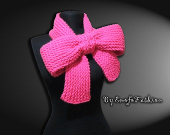 Knitted Bow Scarf Chunky Knitted Bow Ascot Neck Warmer Women's Scarf Fashion Accessories in Candy Pink, SCARVES, Trend Winter Scarfs