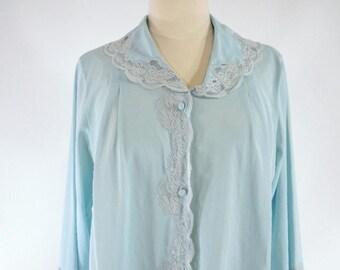 Vintage 1960s Light Blue Bed Jacket Lace Trim Gaymode - med