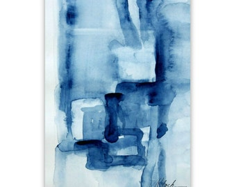 Art abstract print Titled 'Blue Blocks' by Victoria Kloch made from my original watercolor