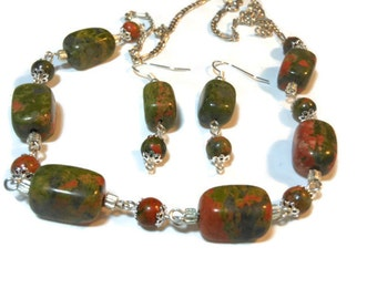Handmade Sterling silver and Unakite wire wrapped necklace and french wire earrings