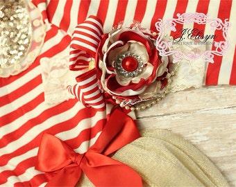 red, gold, champagne couture headband | handmade vintage headband | m2m Christmas dress