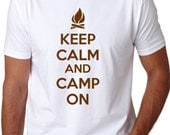 MENS Keep Calm and Camp On T-Shirt going camping, boy scouts, hunting shirt he will love, outdoors, fishing, nature, outside tshirtS-5XL