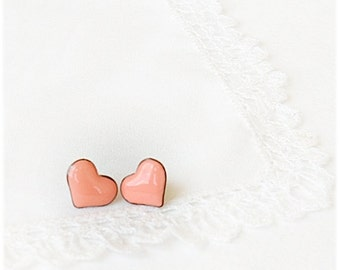 Stud heart earrings, Tiny peach pink heart earrings, Heart jewelry, Graduation, Mother's Day, Small lovely gift