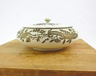 Vintage Brass Enamel Lidded Box / Ivory with Hand Etched Asian Birds and Flowers