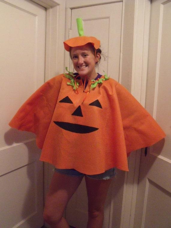 items similar to felt costume adult pumpkin poncho orange