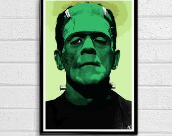 Frankenstein Monster Boris Karloff Color or Black & White Illustration, Horror Movie Pop Art, Home Decor Poster, Film Print Canvas